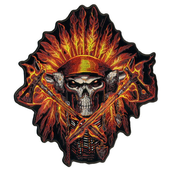 "Hot Leathers PPA7149 Flame Headress Indian 11"" x 12"" Patch - Hot Leathers Patches"