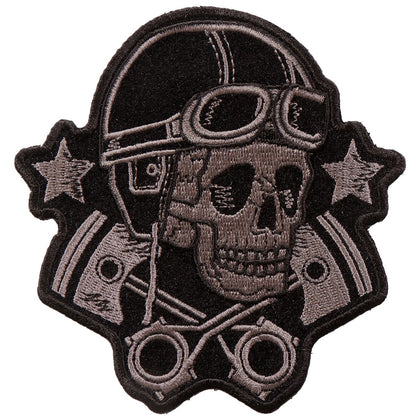 "Hot Leathers PPA9743 Goggles Skull and Stars 4""x4"" Patch - Hot Leathers Patches"