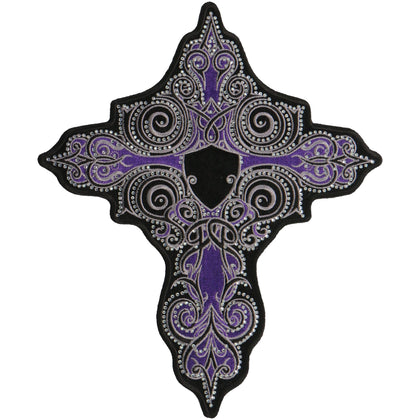 Hot Leathers PPC3277 9 Inch Purple Stone Cross Patch - Hot Leathers Patches