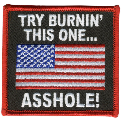 "Hot Leathers PPL9057 Try Burning This One 3"" x 3"" Patch - Hot Leathers Patches"