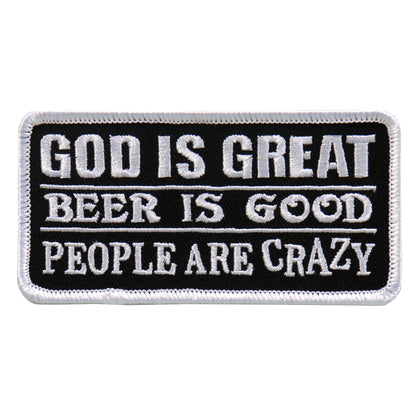 "Hot Leathers PPL9637 God Is Great Beer Is Good 4""x2"" Patch"
