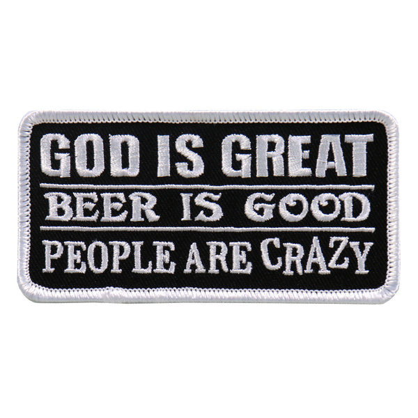 "Hot Leathers PPL9637 God Is Great Beer Is Good 4""x2"" Patch - Hot Leathers Patches"