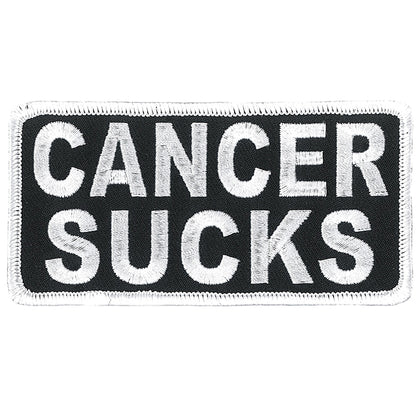 "Hot Leathers PPL9815 Cancer Sucks 4""x 2"" White Patch - Hot Leathers Patches"