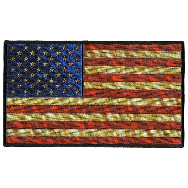 "Hot Leathers PPQ1273 Vintage American Flag 10"" Patch - Hot Leathers Patches"