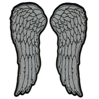 "Hot Leathers PPS1041 10"" Metallic Silver Angel Wings Patch - Hot Leathers Patches"