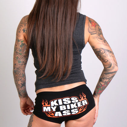 Hot Leathers PTB7066 Kiss My Biker Ass Boy Shorts - Hot Leathers Boy Shorts
