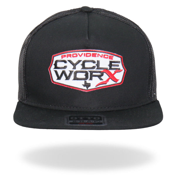 Hot Leathers PWA1004 Official Providence Cycle Worx Red Patch Snapback Hat - Hot Leathers Hats and Caps