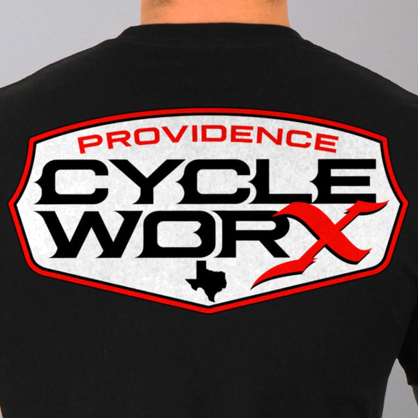 Hot Leathers PWM1001 Official Providence Cycle Worx Red Logo Black T-Shirt