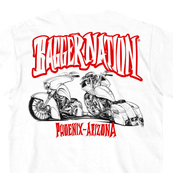 Hot Leathers PYM1006 Official Paul Yaffe's Bagger Nation Twin Bikes White T-Shirt - Hot Leathers Mens Short Sleeve Printed Shirts