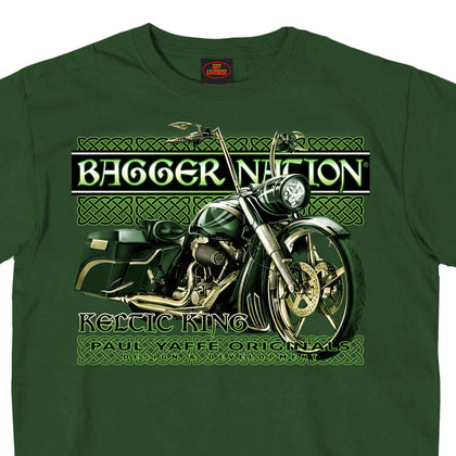 Hot Leathers PYM1031 Official Paul Yaffe's Bagger Nation Keltic King Two Sided Mens Forest Green T-Shirt - Hot Leathers Mens Short Sleeve Printed Shirts
