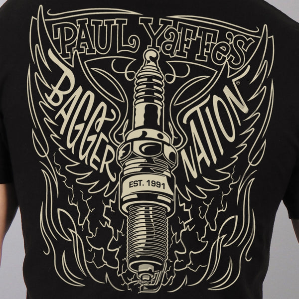 Hot Leathers PYM1032 Official Paul Yaffe's Bagger Nation Keltic King Two Sided Mens Black T-Shirt - Hot Leathers Mens Short Sleeve Printed Shirts