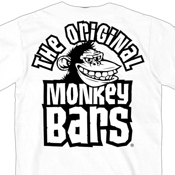Hot Leathers PYM1035 Official Paul Yaffe's Bagger Nation Monkey Bars Double Sided White T-Shirt - Hot Leathers Mens Short Sleeve Printed Shirts