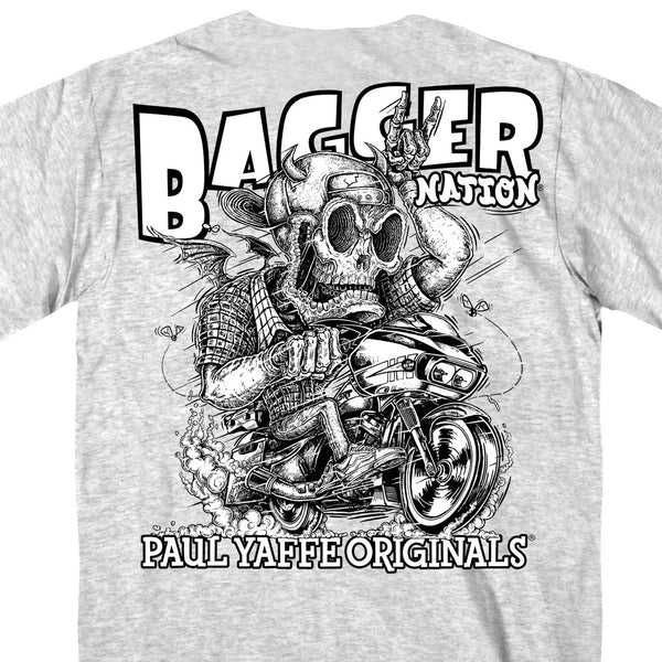Hot Leathers PYM1038 Official Paul Yaffe's Bagger Nation Monster Double Sided Ash T-Shirt - Hot Leathers Mens Short Sleeve Printed Shirts