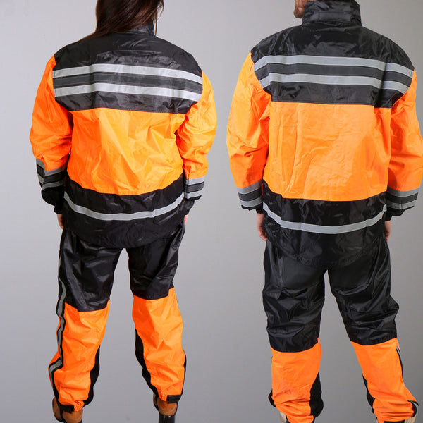 Hot Leathers RGU1004 Orange and Black Unisex Waterproof Rain Suit - Hot Leathers Rain Suits