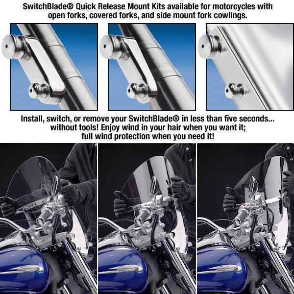 National Cycle KIT-Q342 Switchblade Mount Kit for Harley Davidson 1986-2014 FL Softail Models with Light Bar Installed