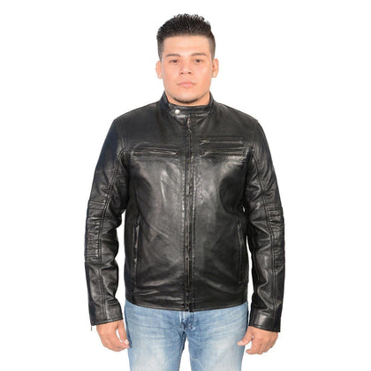 Milwaukee Leather SFM1805 Black  Men's Side Stitch Cafe Racer Lambskin Leather Jacket
