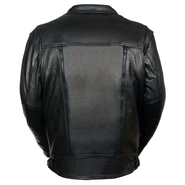 Leather King SH1018 Men's 'Pistol Pete' Motorcycle Jacket with Utility Pocket - Leather King Mens Leather Jackets
