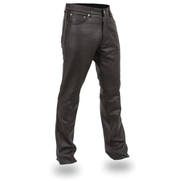Leather King SH1140 Men's Black Leather 5 Pocket Jean Style Pants - Leather King Mens Leather Pants
