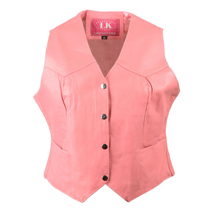 Leather King SH1227 Pink Ladies Classic Leather Four Snap Vest - Leather King Womens Leather Vests