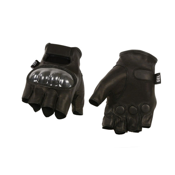 Milwaukee Leather SH194 Men's Black 'Hard Knuckles' Fingerless Glove with Gel Palm