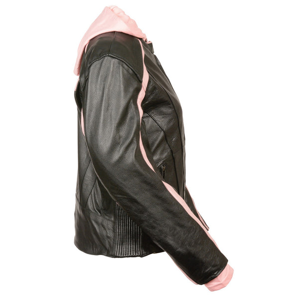 Milwaukee Leather SH1951 Women's Black and Pink Striped Leather Jacket with Zip-Out Hoodie and Gun Pocket - Milwaukee Leather Womens Leather Jackets