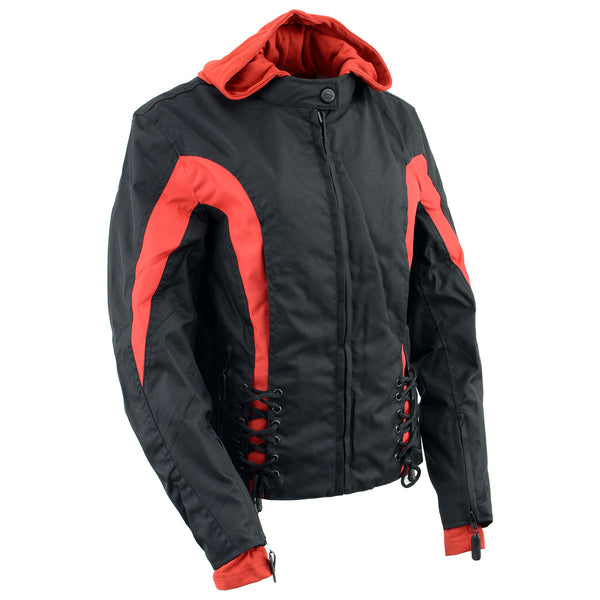 NexGen Ladies SH1998 Red and Black Textile Racer Jacket with Removable Hoodie - NexGen Womens Textile Jackets