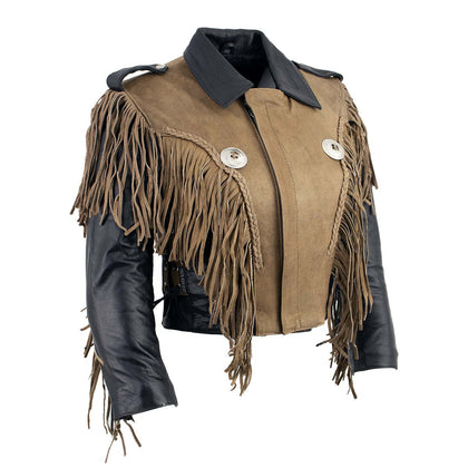 Leather King SH2015 Ladies 'Fringed' Cropped Two Tone Jacket with Braiding Detail