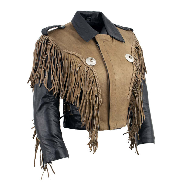 Leather King SH2015 Ladies 'Fringed' Cropped Two Tone Jacket with Braiding Detail - Leather King Womens Leather Jackets