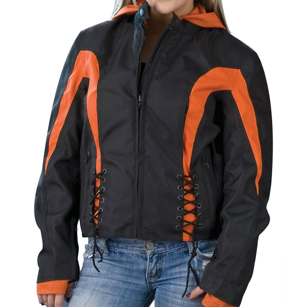 NexGen Ladies SH2039 Black and Orange Textile Racer Jacket with Fleece Hoodie - NexGen Womens Textile Jackets