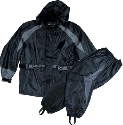 NexGen Ladies SH205001 Black and Grey Armored Hooded Water Proof Rain Suit - NexGen Womens Rain Suits