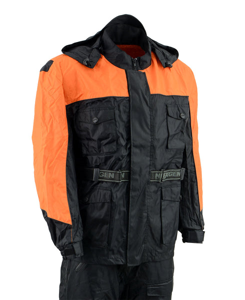 NexGen Men's SH2051 Black and Orange Hooded Water Proof Armored Rain Suit - NexGen Mens Rain Suits