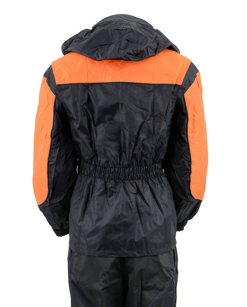 NexGen Ladies SH205101 Black and Orange Armored Hooded Water Proof Rain Suit - NexGen Womens Rain Suits