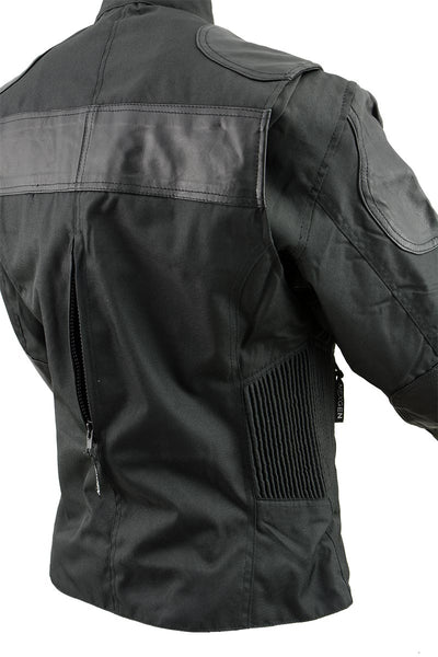 NexGen Ladies SH2179 Black Leather and Textile Vented Racer Jacket - NexGen Womens Textile Jackets