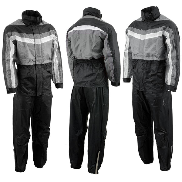 NexGen Men's SH2226 Black and Grey Hooded Water Proof Rain Suit - NexGen Mens Rain Suits