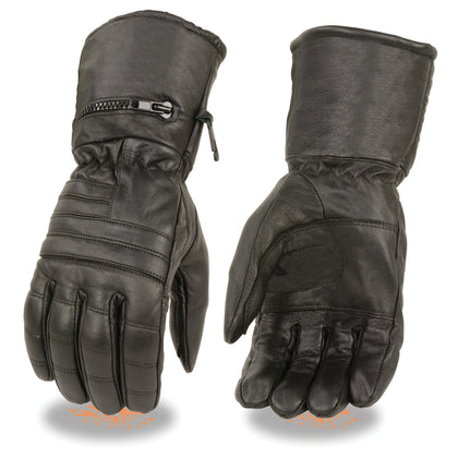 Milwaukee Leather SH230 Men's Black Leather Gauntlet Gloves with Rain Mitten - Milwaukee Leather Mens Leather Gloves