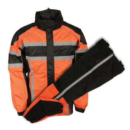 Milwaukee Performance SH233102 Men's Black and Orange Water Resistant Rain Suit with Reflective Tape - Milwaukee Performance Mens Rainsuits