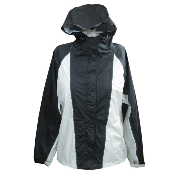 NexGen Ladies SH2333 Beige and Black Hooded Water Proof Rain Suit - NexGen Womens Rain Suits