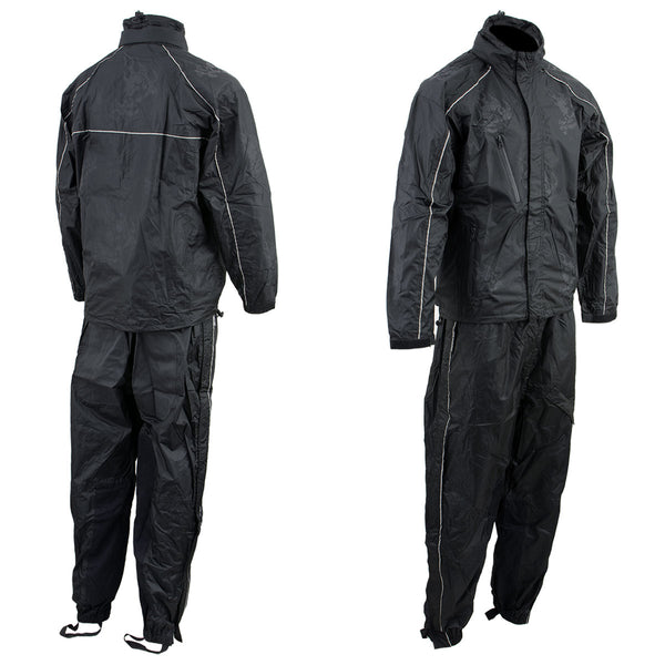 NexGen SH2334 Men's Black Water Proof Rain Suit with Reflective Flame Skull Design - NexGen Mens Rain Suits