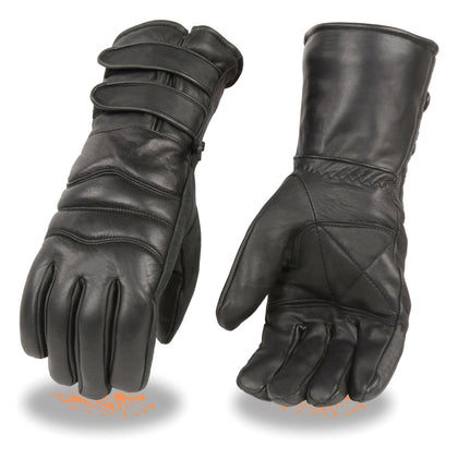 Xelement XG233 Men's Black Leather Gauntlet Gloves with Double Strap