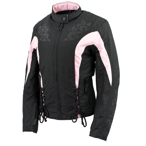 NexGen SH236806 Ladies 'Reflective Buffalo Head' Black and Pink Textile Jacket - NexGen Womens Textile Jackets