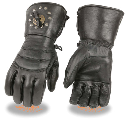 Milwaukee Leather SH238 Men's Black Studded Gauntlet Leather Gloves with Conchos