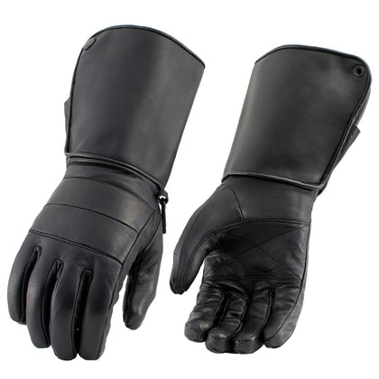 Milwaukee Leather SH262 Men's Black 'Long Cuff' Gauntlet Gloves with Zipper Closure