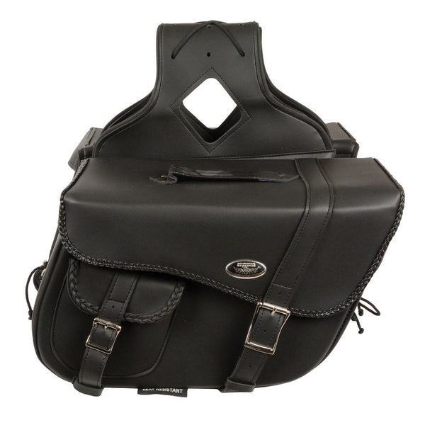 Milwaukee Performance SH665ZB Large Braided Zip Off PVC Throw Over Saddle Bag with Bonus Pocket - Milwaukee Performance Accessories