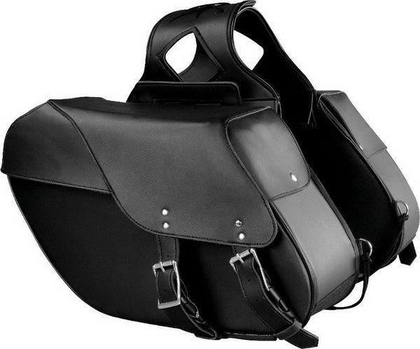 Xelement X-669ZB Large Size Black Two Straps PVC Zip Off Throw Over Saddlebags with Reflective Piping - Xelement Saddlebags