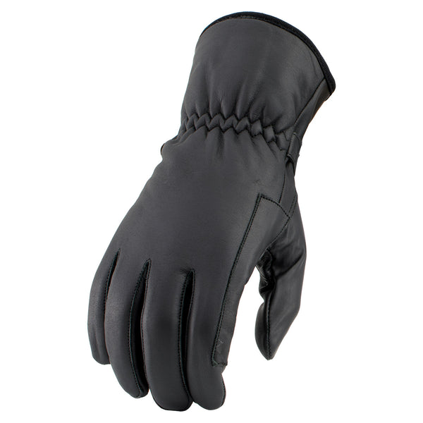Milwaukee Leather SH376 Men's Black Classic Leather Gloves with Gel Palm - Milwaukee Leather Mens Leather Gloves