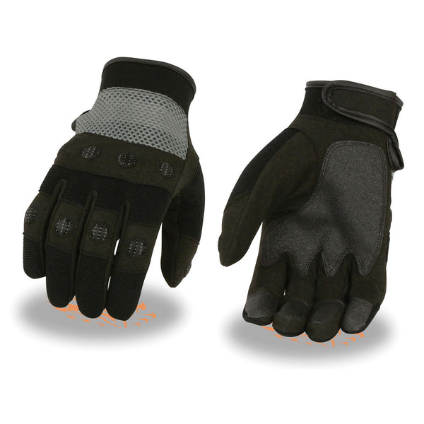 Milwaukee Leather SH76101 Men's Black and Grey Textile Motorcycle Gloves - Milwaukee Leather Mens Textile Gloves
