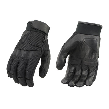 Milwaukee Leather SH879 Men's Black Mesh and Leather Racing Gloves - Milwaukee Leather Mens Textile Gloves