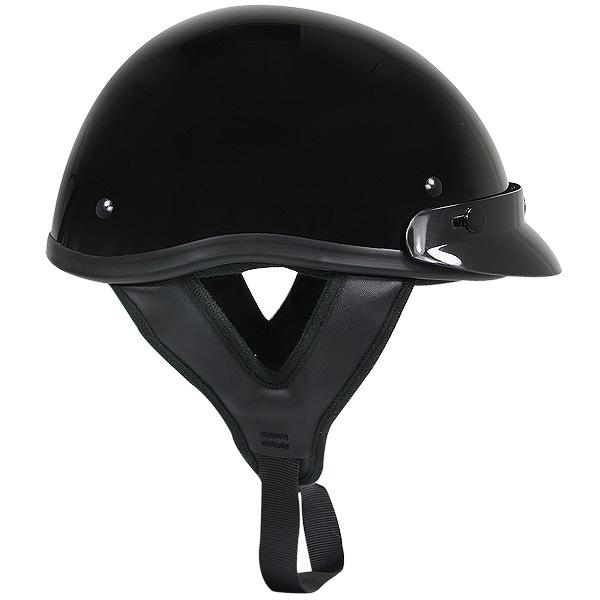 Outlaw T70 DOT Solid Glossy Black Half Helmet