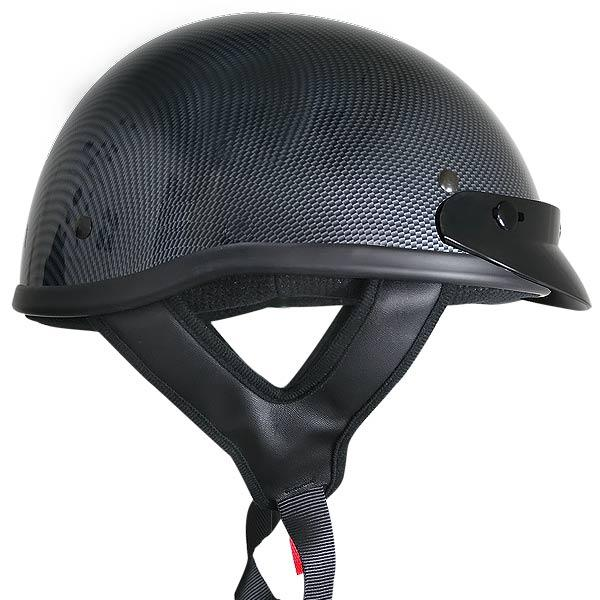 Outlaw T70 DOT Solid Carbon Color Design Half Helmet with Visor
