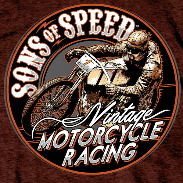 Hot Leathers SOM1003 Men's Official Sons of Speed Vintage Motorcycle Racing Russet T-Shirt - Hot Leathers Mens Short Sleeve Printed Shirts